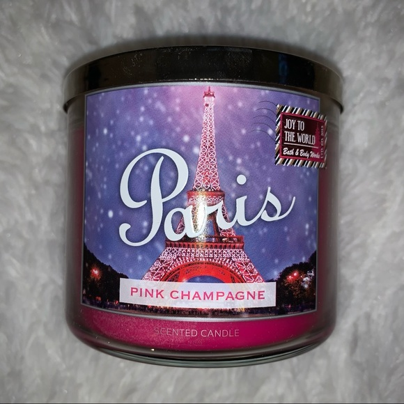 bath body works paris pink champagne candle new